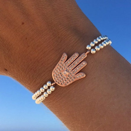 Rose Gold Hand of Fatima Charm Bracelet with Sterling Silver Beads