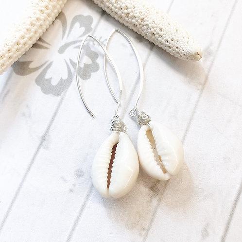 Cowrie Shell Sterling Silver Long Drop Earrings