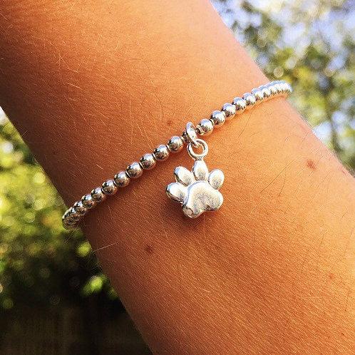 Silver Paw Print Charm Bracelet