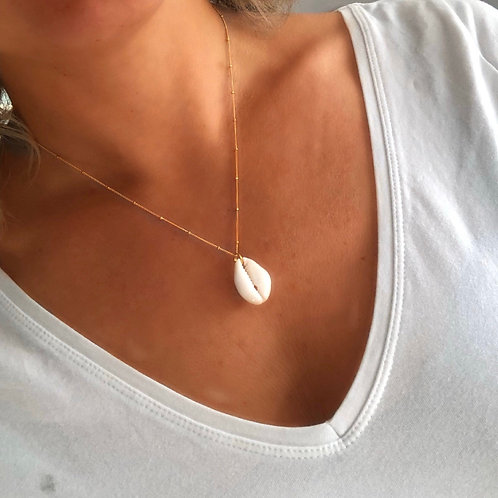 Cowrie Shell on a Gold Satellite Necklace