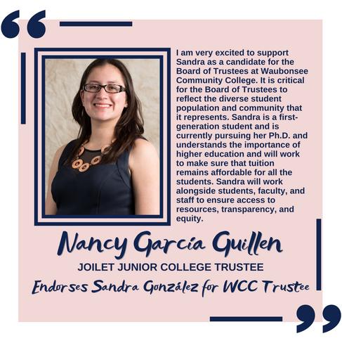 Nancy García fiduciaria de Joliet Junior College patrocina a Sandra