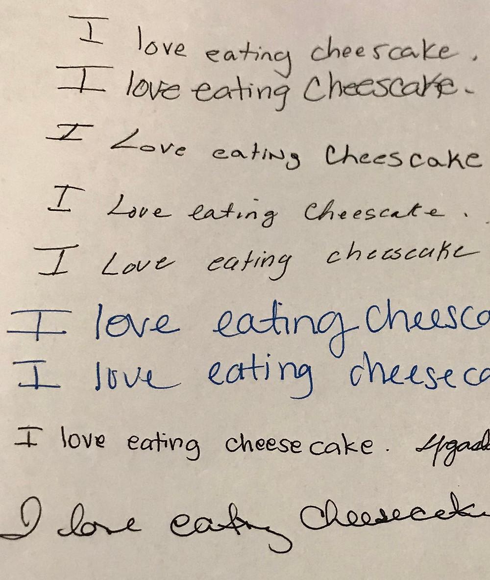 Hand Writing Sample: I love cheesecake