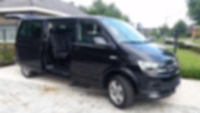 Taxibus Volkswagen T6 Caravelle Comfortline lange wielbasis 8 personen passagiers 9 zitplaatsen zetels lederen interieur