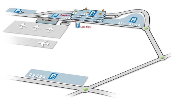 Plattegrond van Brussels South Charleroi Airport luchthaven parkings met parking p1, p2 en p3 naast het terminalgebouw voor het afzetten van passagiers na taxi luchthaven