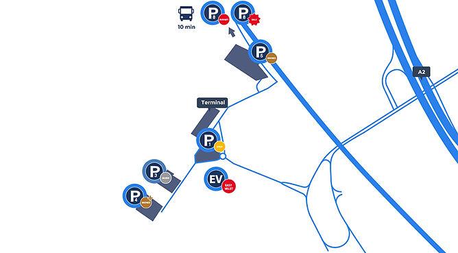 Plattegrond van Eindhoven luchthaven Airport aankomsthal met parkings en terminal