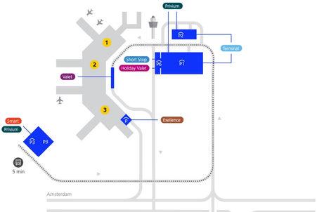 Plattegrond van Schiphol Amsterdam luchthaven Airport aankomsthal, met short stop, valet, holiday valet, parkings p1, p2, p3 en p6