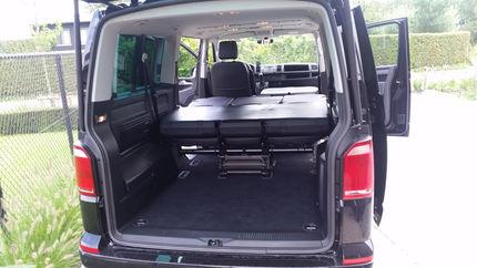 Volkswagen T6 Caravelle kofferruimte zetels plat ingeklapt
