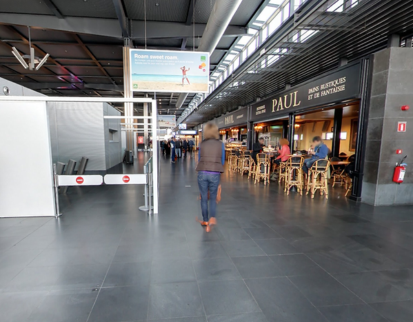 Charleroi Brussels South Airport luchthaven aankomsthal Terminal T1 ontmoetingspunt taxi Paul's bakery