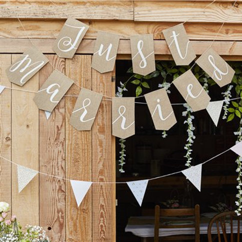 Rustic country just married bunting