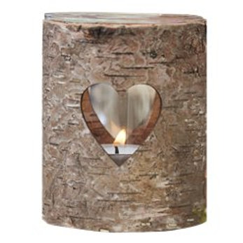 Rustic Country wooden heart tealight holder