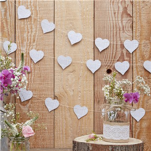 Rustic Country heart newspaper garland - 5m