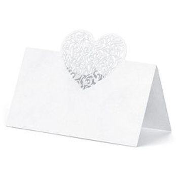 White laser heart place card holder