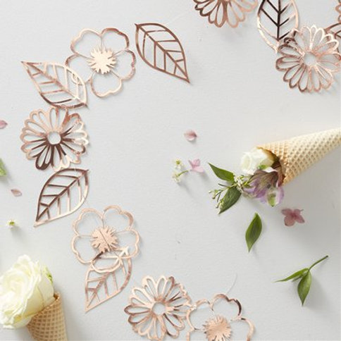 Ditsy floral rose foiled garland 3m