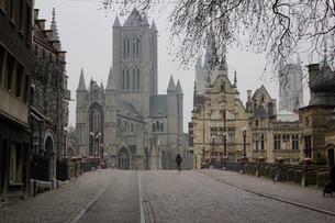 ベルギーの古都「ゲント」冬の朝