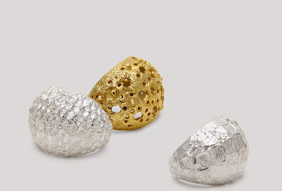 Mosäic Textured Silver Rings