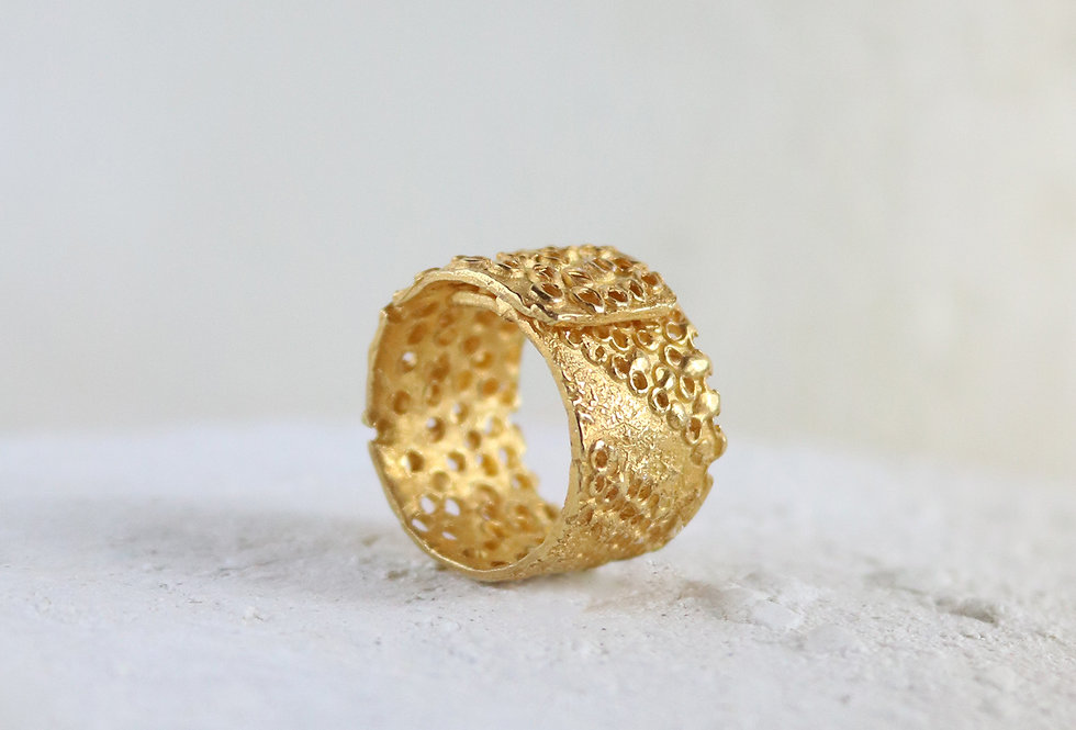 Vulcana Gold Plated Silver Ring