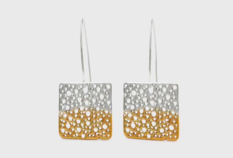 Vulcana Long Gold Plated Silver Earrings