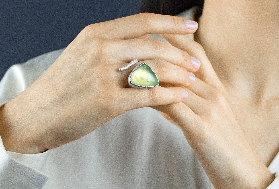 Paula Vieira Jewellery Prehnite Silver Ring