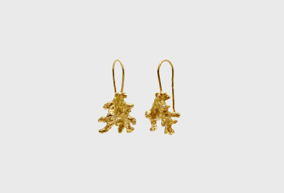 Coral Small Gold Plated Silver Earrings