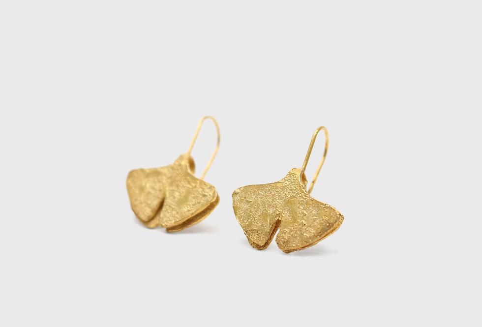 Seaflower Ginkgo Gold Plated Silver Earrings