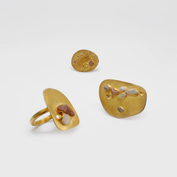 Paula Vieira Jewellery 925 Goldplated Silver Ring and Sand