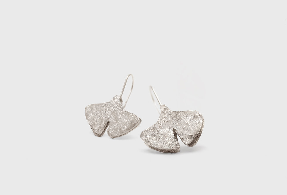 Seaflower Ginkgo Silver Earrings
