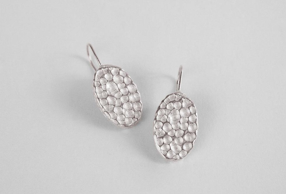 Hive Oval Silver Earrings