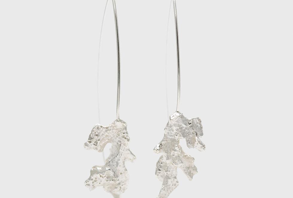 Coral Long Silver Earrings