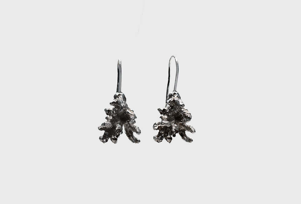 Coral Small Oxidised Silver Earrings