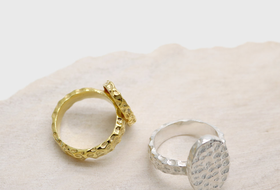 Hive Oval Silver Rings