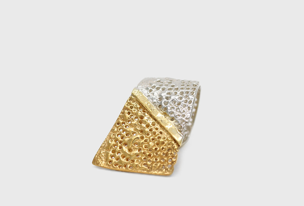Vulcana Wave Gold Plated Silver Ring