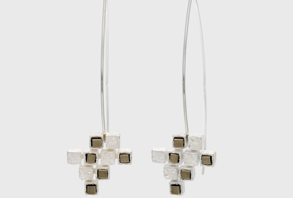 Cubico Long Silver Earrings with Hematites