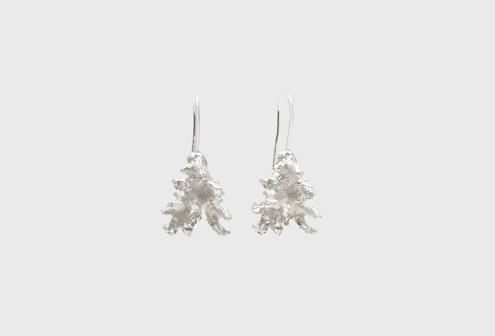 Coral Small Silver Earrings