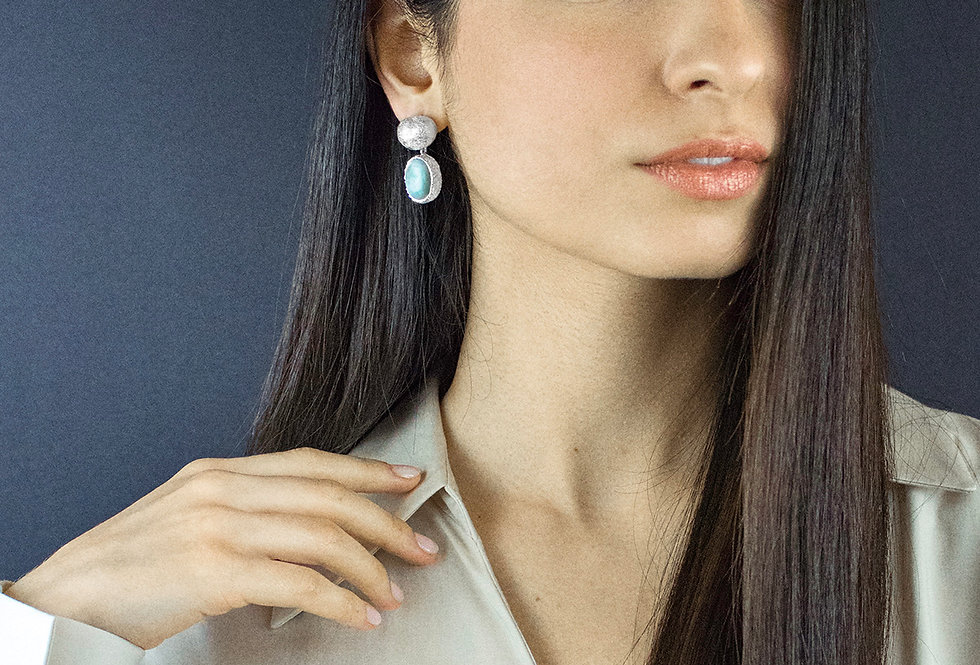 Paula Vieira Jewellery Larimar Silver Earrings