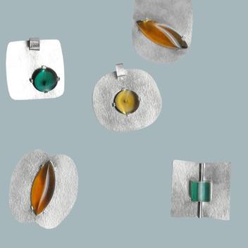 Paula Vieira Jewellery 925 Silver Pendants and Glass