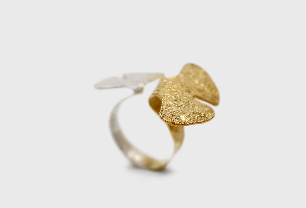 Seaflower Ginkgo Open Silver Ring