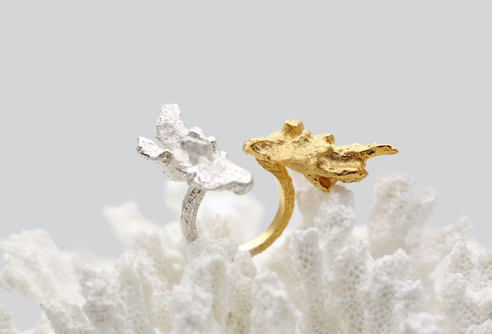 Coral Open Gold Plated & Silver Ring