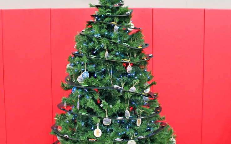 Our car-themed 2019 Christmas tree at the East Chicago Park District.