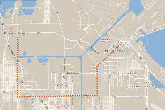 Cline Avenue Bridge Detour Map
