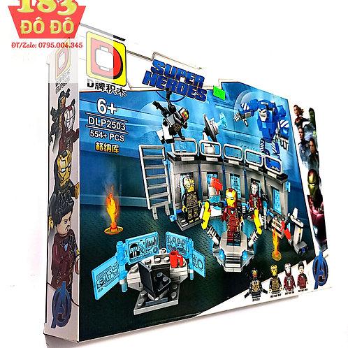 Đồ chơi xếp hình siêu anh hùng phòng lab chứa giáp của người sắt ironman DLP2503