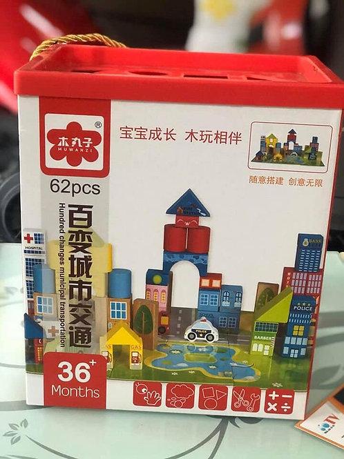 mô hình đồ chơi bằng gỗ giao thông thành phố 62 chi tiết