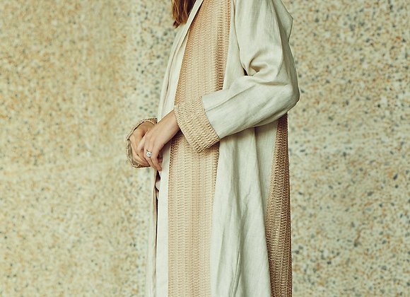 Beige and Gold Linen Abaya