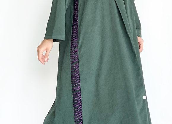 Dark Green Abaya with Purple Rope Details on Sides