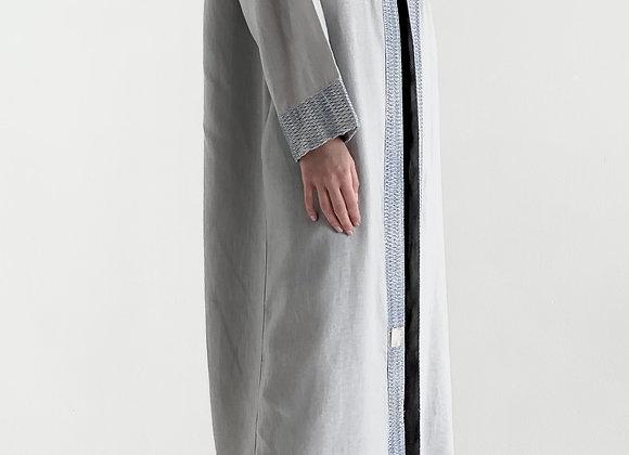Dark Grey Abaya with Blue Lace
