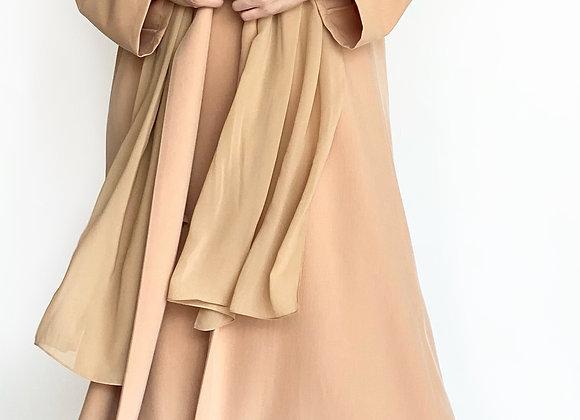 Mustard Cotton Abaya Set - Dress