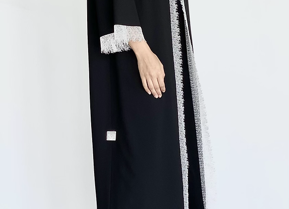 Black Abaya with White Lace Details
