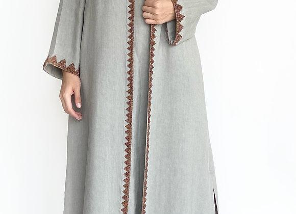 Grey Linen Abaya with Lace Details