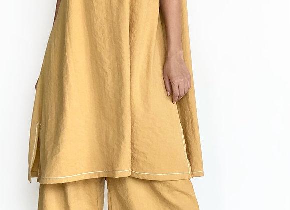 Mustard Dress with Wide Legged Pants