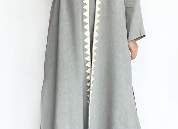 Grey Abaya with Lace Details