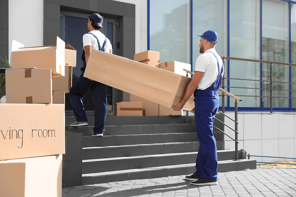 Male movers carrying shelving unit into